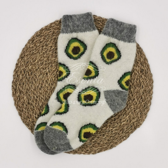 Женские шерстяные носки круговой вязки с рисунком